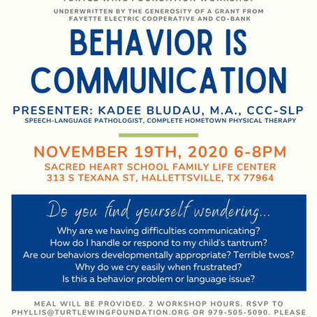 Turtle Wing and PAT to offer Early Childhood Workshop on How Behavior is Communication
