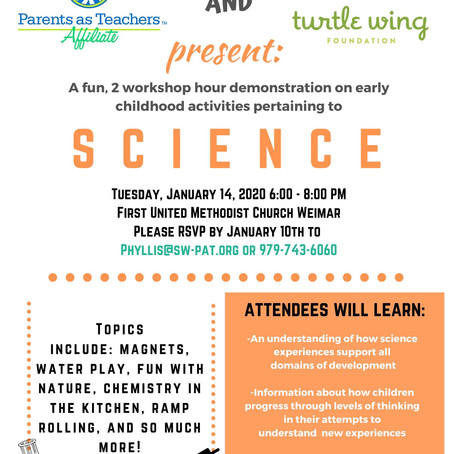 Turtle Wing and PAT to offer Early Childhood Workshop on Child Activities Pertaining to Science