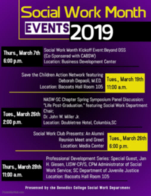 Social Work Month Calendar of Events 201