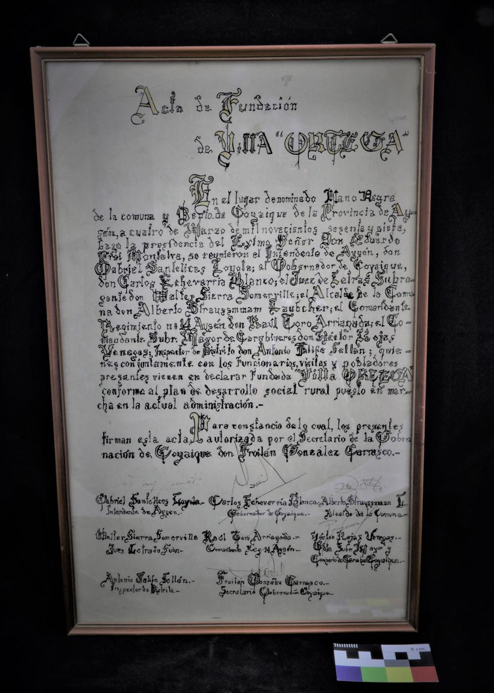 Acta de fundación de Villa Ortega