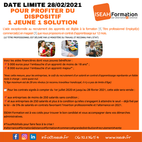 ❗️ Date limite 28/02/2021 pour profiter du dispositif   1 jeune 1 solution