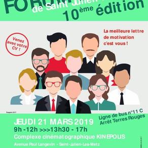 🗓️21/03/19 - Forum Emploi - Saint Julien-les-Metz