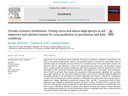 New paper: Circular economy fertilization: Testing micro and macro algal species as soil improvers a