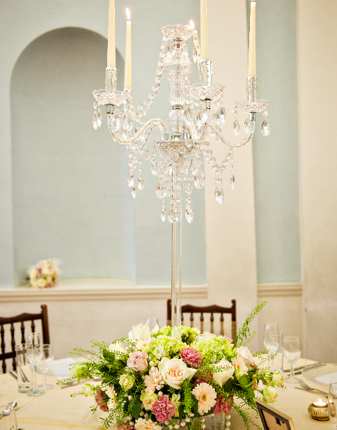 Crystal candelabra with floral base