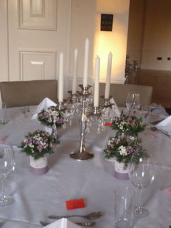 Candelabra & tin can flower favours