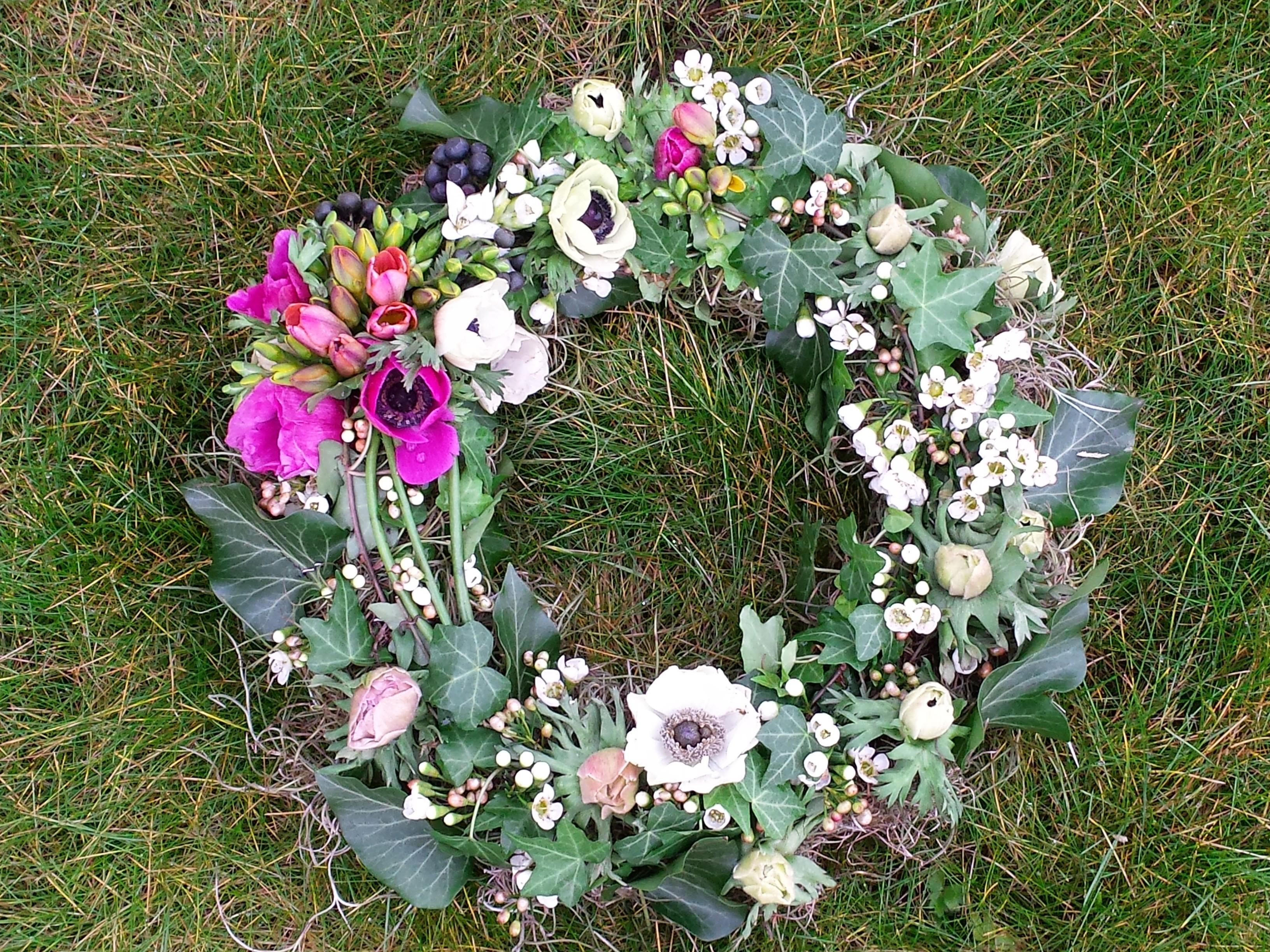 Anemone woodland funeral wreath
