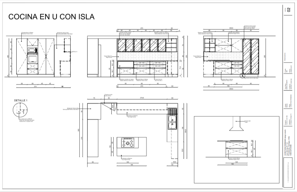 Cocina U con Isla Plano Christian Erdmann Design