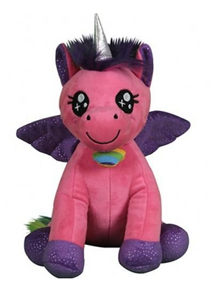 Pink Unicorn with Purple Sparkly Wings
