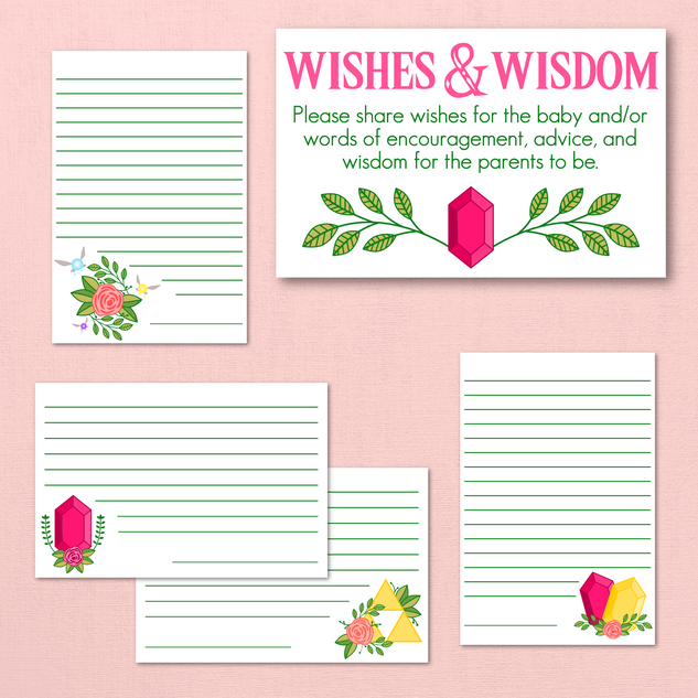 Legend of Zelda Baby Shower Advice Cards