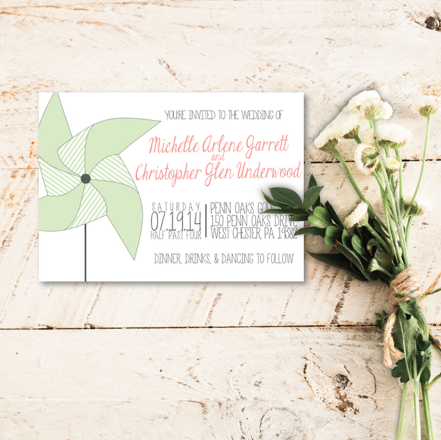 Pinwheel Wedding Invitation
