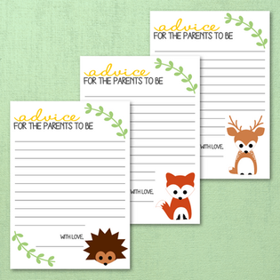 Woodland Creatures Baby Shower Advice Cards