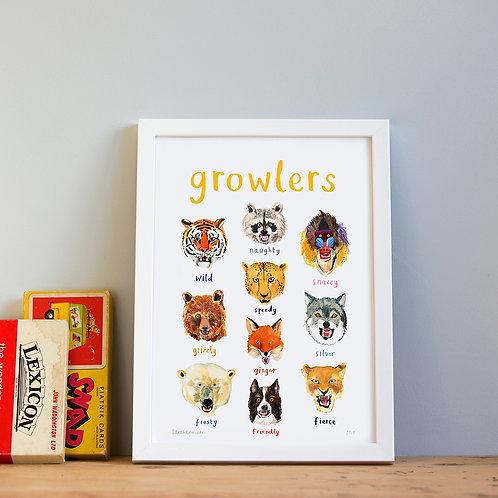 Growlers A4 Print