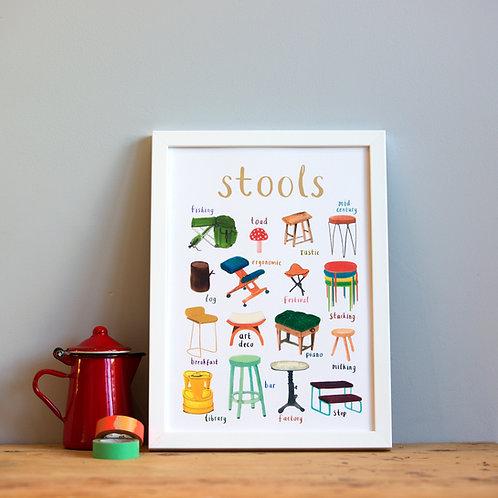 Stools A4 Print