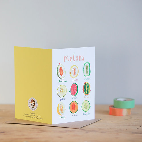 Melons Greetings Card x 6
