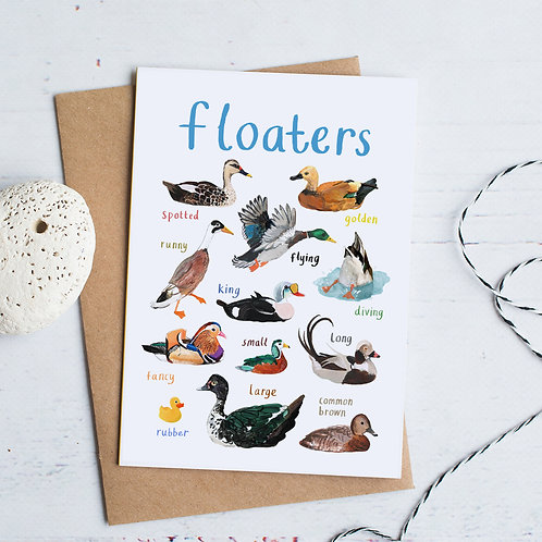 Floaters Greetings Card x 6