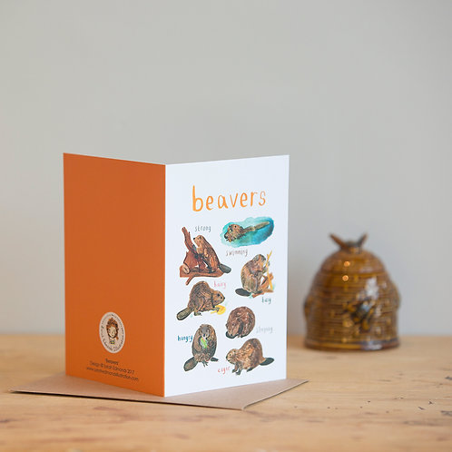 Beavers Greetings Card x 6
