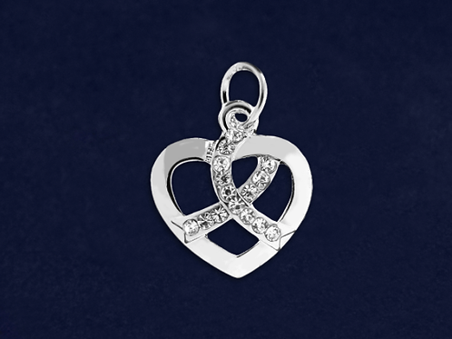 Silver Heart Crystal Ribbon Charm