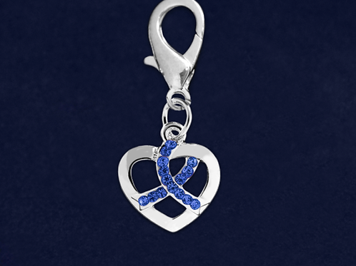 Silver Heart Crystal Dk Blue Ribbon Hanging Charm