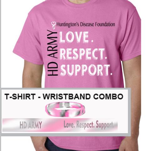COMBO:              Pink Style Wristband & T-shirt