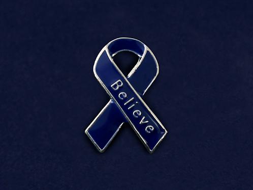 Believe Dark Blue Ribbon Pins