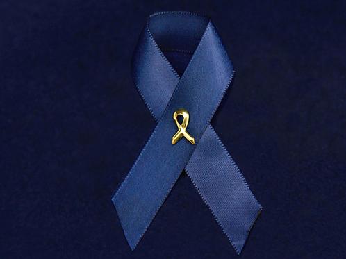 Satin Dark Blue Ribbon Pin