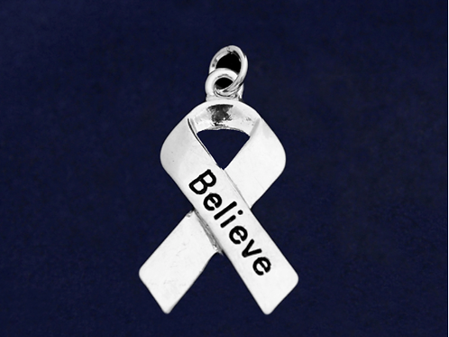 Large Ribbon Believe Charm
