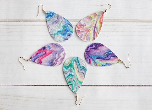 Multicolor Faux Leather Teardrop Earrings