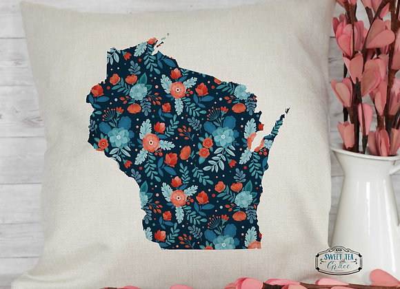 Custom State Navy Floral Throw Pillow