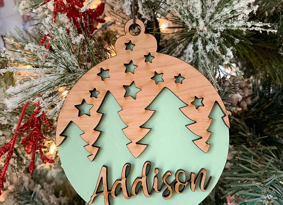 Trees and Stars Design Christmas Ornament