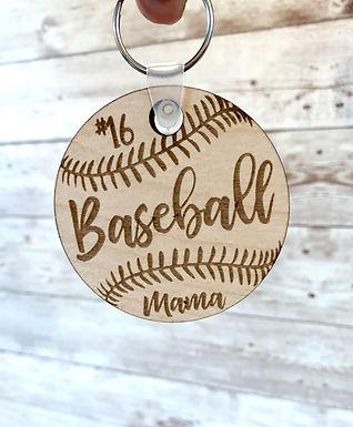 Wood Baseball / Softball Keychain