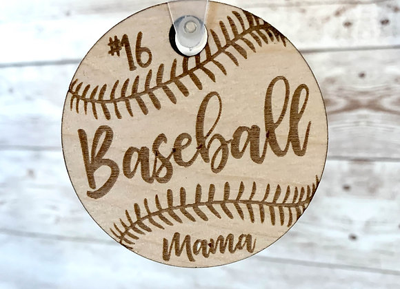 Wood Baseball / Softball Keychain
