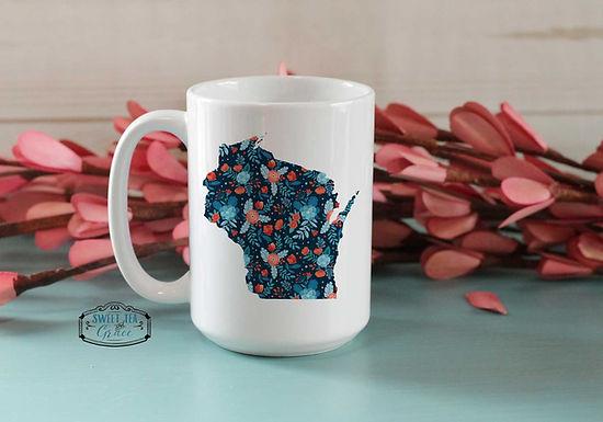 State Custom Navy Floral Mug