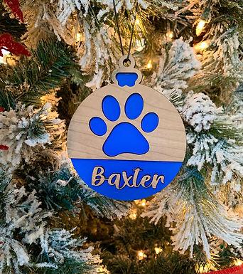 Pawprint Design Christmas Ornament