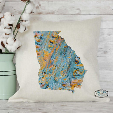 Marble Custom State Throw Pillow