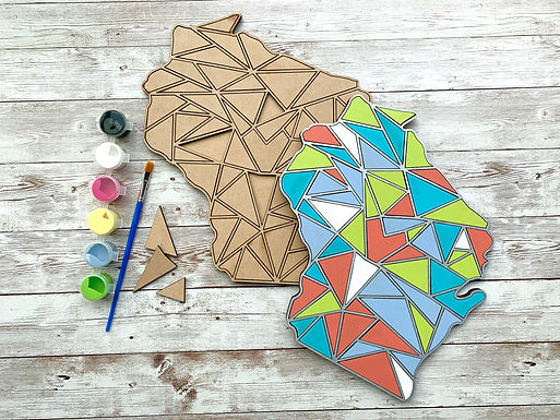 Paint Your Own - Custom Wood State Geometric Kit