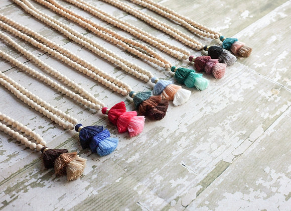 Boho Wood Bead Tassel Necklace