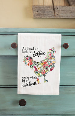 Coffee and Chickens Tea Towel
