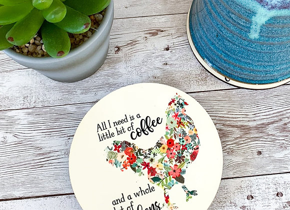 Coffee and Chickens Coaster Set