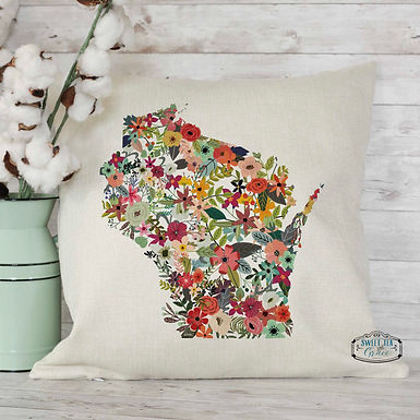Custom State Floral Throw Pillow