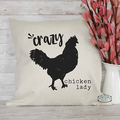 Crazy Chicken Lady Throw Pillow
