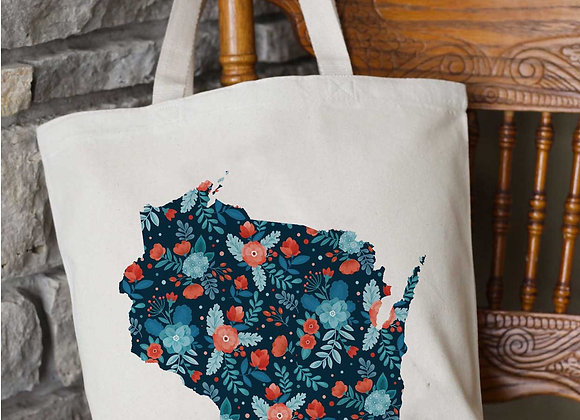 Custom State Navy Floral Tote