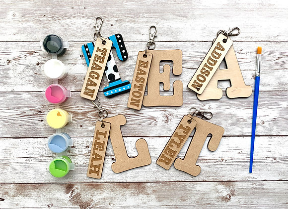 Paint Your Own - Custom Wood Initial / Name Keychain