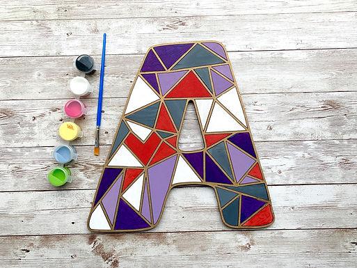 Paint Your Own - Custom Wood Initial Geometric Kit