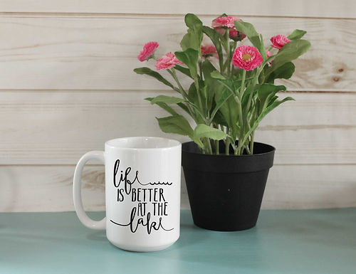 Life is better at the lake coffee mug