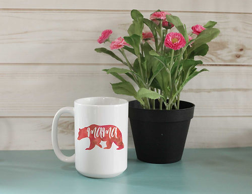Mama Bear Red Watercolor Mug