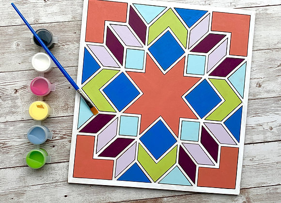 Paint Your Own - Wood Barn Quilt Geometric Kit