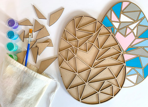 Paint Your Own -  Wood Spring Geometric Egg Kit