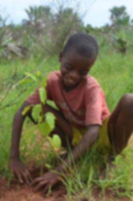 Boy with Seedling Madagascar ForestPlane