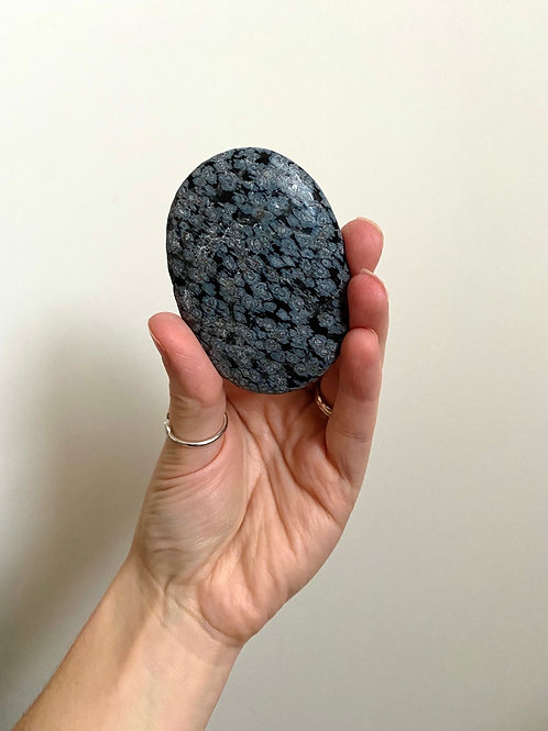 SNOWFLAKE OBSIDIAN PALMSTONE Grounding + Self Devotion + Spiritual Connection