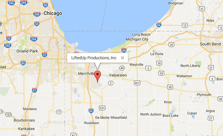 LiftedUp map of our location in the Chicagoland Area.  Serving NW Indiana (NWI).  Easy travel to Chicago downtown and SW Michighan.